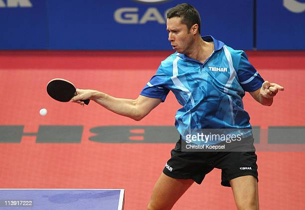 Vladimir Samsonov of Belarus plays a forehand during the first round Men's Single match against Paul Drinkhall of GreatBritain during World Table...