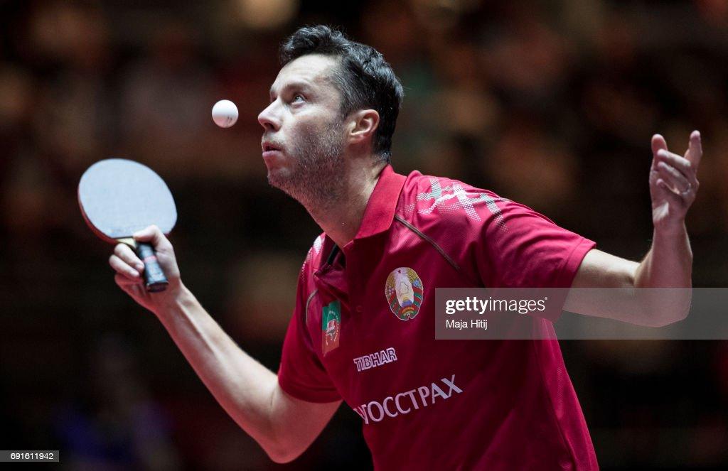 Vladimir Samsonov of Belarus serves during Men's Singles quarterfinals at Table Tennis World Championship at Messe Duesseldorf on June 2, 2017 in Dusseldorf, Germany.