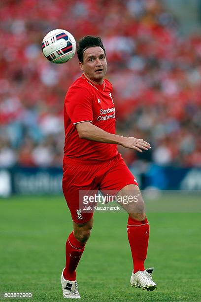 Vladimir Smicer of the Liverpool Legends controls the ball during the match between Liverpool FC Legends and the Australian Legends at ANZ Stadium on...