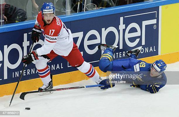 Vladimir Sobotka of Czech Republic and Victor Rask of Sweden skate during the 2015 IIHF World Championship between Czech Republic and Sweden at O2...