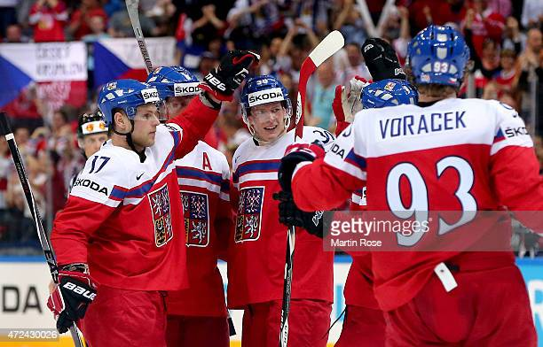 Vladimir Sobotka of Czech Republic celebrate with his team mates after he scores the 2nd goal during the IIHF World Championship group A match...