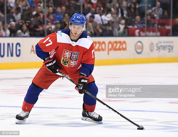 Vladimir Sobotka of Team Czech Republic stickhandles the puck against Team Europe during the World Cup of Hockey 2016 at Air Canada Centre on...