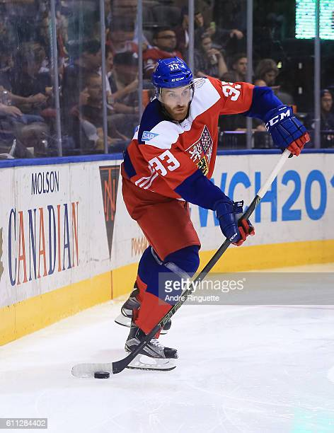 Vladimir Sobotka of Team Czech Republic stickhandles the puck against Team USA during the World Cup of Hockey 2016 at Air Canada Centre on September...
