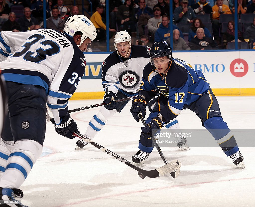 <a gi-track='captionPersonalityLinkClicked' href=/galleries/search?phrase=Vladimir+Sobotka&family=editorial&specificpeople=716736 ng-click='$event.stopPropagation()'>Vladimir Sobotka</a> #17 of the St. Louis Blues battles <a gi-track='captionPersonalityLinkClicked' href=/galleries/search?phrase=Dustin+Byfuglien&family=editorial&specificpeople=672505 ng-click='$event.stopPropagation()'>Dustin Byfuglien</a> #33 of the Winnipeg Jets for a loose puck on October 29, 2013 at Scottrade Center in St. Louis, Missouri.