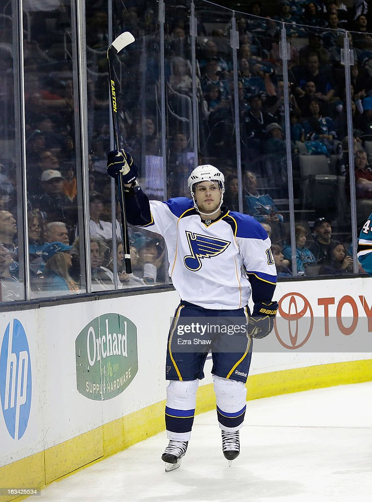 Vladimir Sobotka #17 of the St. Louis Blues celebrates after scoring his second of three goals against the San Jose Sharks at HP Pavilion on March 9, 2013 in San Jose, California.
