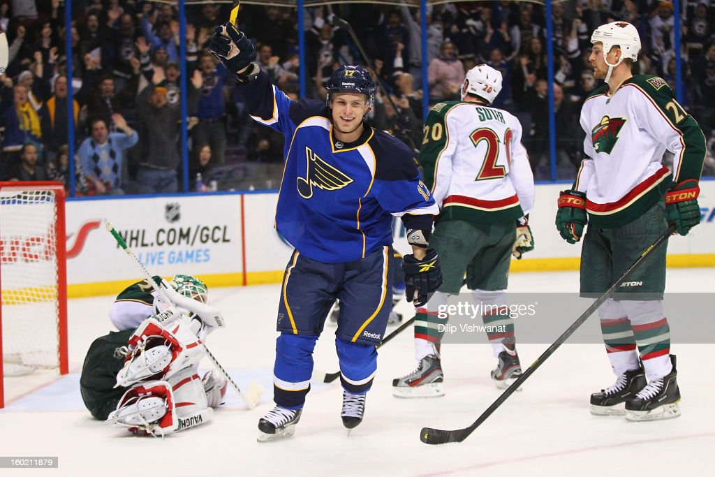 Vladimir Sobotka #17 of the St. Louis Blues celebrates his game-winning goal against the Minnesota Wild at the Scottrade Center on January 27, 2013 in St. Louis, Missouri. The Blues beat the Wild 5-4 in overtime.
