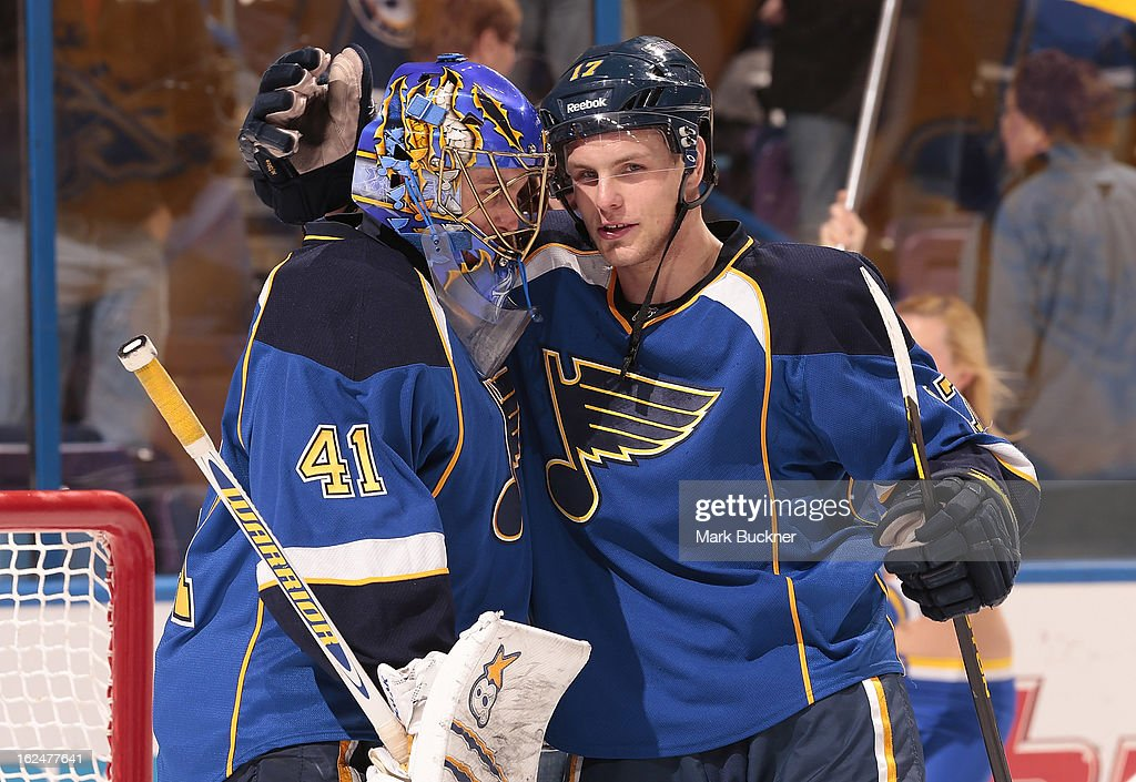 <a gi-track='captionPersonalityLinkClicked' href=/galleries/search?phrase=Vladimir+Sobotka&family=editorial&specificpeople=716736 ng-click='$event.stopPropagation()'>Vladimir Sobotka</a> #17 of the St. Louis Blues congratulates teammate goalie <a gi-track='captionPersonalityLinkClicked' href=/galleries/search?phrase=Jaroslav+Halak&family=editorial&specificpeople=2285591 ng-click='$event.stopPropagation()'>Jaroslav Halak</a> #41 after a victory over the Columbus Blue Jackets in an NHL game on February 23, 2013 at Scottrade Center in St. Louis, Missouri.