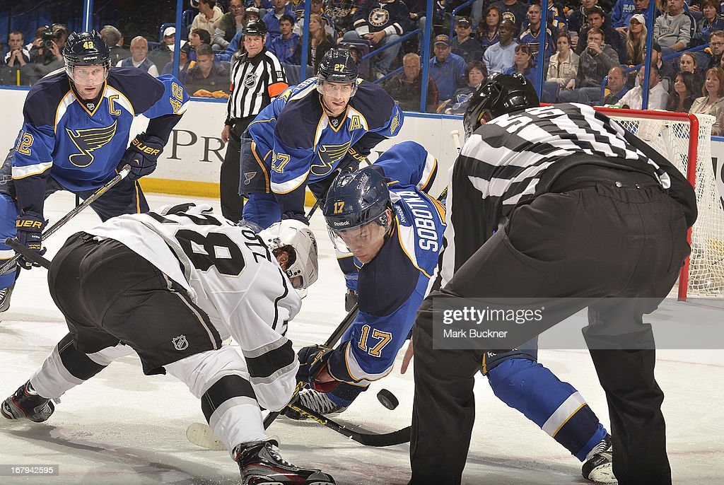 <a gi-track='captionPersonalityLinkClicked' href=/galleries/search?phrase=Vladimir+Sobotka&family=editorial&specificpeople=716736 ng-click='$event.stopPropagation()'>Vladimir Sobotka</a> #17 of the St. Louis Blues faces off against <a gi-track='captionPersonalityLinkClicked' href=/galleries/search?phrase=Jarret+Stoll&family=editorial&specificpeople=204632 ng-click='$event.stopPropagation()'>Jarret Stoll</a> #28 of the Los Angeles Kings in Game Two of the Western Conference Quarterfinals during the 2013 NHL Stanley Cup Playoffs on May 2, 2013 at Scottrade Center in St. Louis, Missouri.