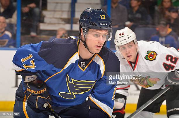 Vladimir Sobotka of the St Louis Blues faces off against the Chicago Blackhawks in an NHL game on April 27 2013 at Scottrade Center in St Louis...
