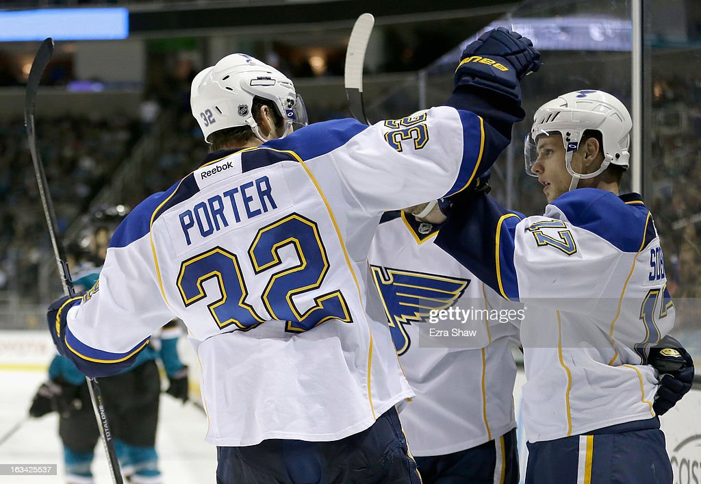 Vladimir Sobotka #17 of the St. Louis Blues is congratulated by Chris Porter #32 after scoring his second of three goals against the San Jose Sharks at HP Pavilion on March 9, 2013 in San Jose, California.