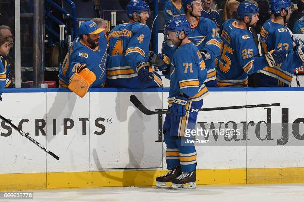 Vladimir Sobotka of the St Louis Blues is congratulated by teammates after scoring a goal against the Colorado Avalanche on April 9 2017 at Scottrade...