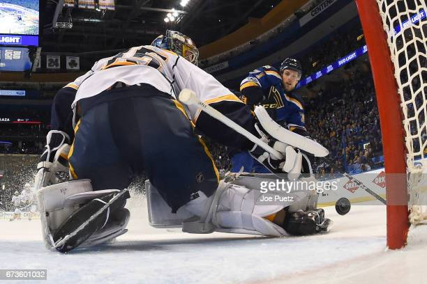 Vladimir Sobotka of the St Louis Blues scores a goal against the Nashville Predators in Game One of the Western Conference Second Round during the...