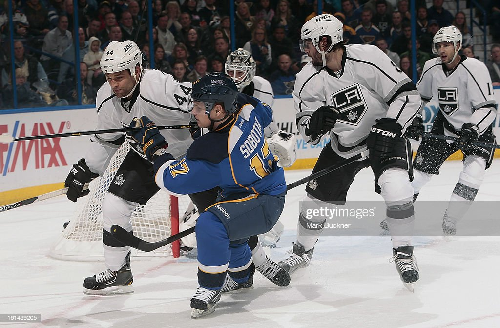 <a gi-track='captionPersonalityLinkClicked' href=/galleries/search?phrase=Vladimir+Sobotka&family=editorial&specificpeople=716736 ng-click='$event.stopPropagation()'>Vladimir Sobotka</a> #17 of the St. Louis Blues skates against <a gi-track='captionPersonalityLinkClicked' href=/galleries/search?phrase=Davis+Drewiske&family=editorial&specificpeople=696711 ng-click='$event.stopPropagation()'>Davis Drewiske</a> #44 of the Anaheim Ducks in an NHL game on February 11, 2013 at Scottrade Center in St. Louis, Missouri.