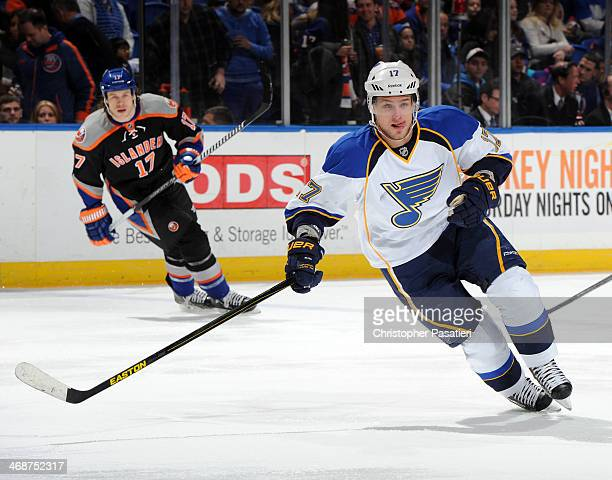 Vladimir Sobotka of the St Louis Blues skates during the game against the New York Islanders at Nassau Coliseum on January 25 2014 in Uniondale New...
