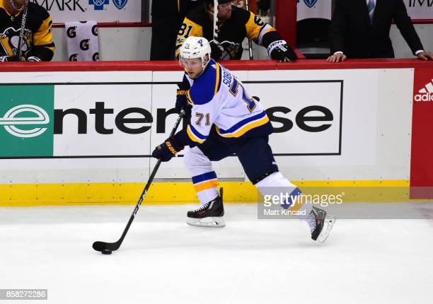 Vladimir Sobotka of the St Louis Blues skates with the puck against the Pittsburgh Penguins at PPG PAINTS Arena on October 4 2017 in Pittsburgh...