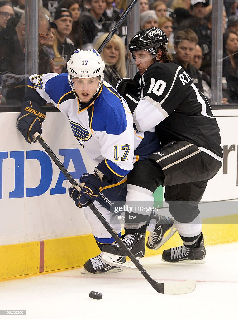 <a gi-track='captionPersonalityLinkClicked' href=/galleries/search?phrase=Vladimir+Sobotka&family=editorial&specificpeople=716736 ng-click='$event.stopPropagation()'>Vladimir Sobotka</a> #17 of the St. Louis Blues spins off Mike Richards #10 of the Los Angeles Kings during the third period of a 4-3 Kings win in Game Four of the Western Conference Quarterfinals during the 2013 NHL Stanley Cup Playoffs at Staples Center on May 6, 2013 in Los Angeles, California.