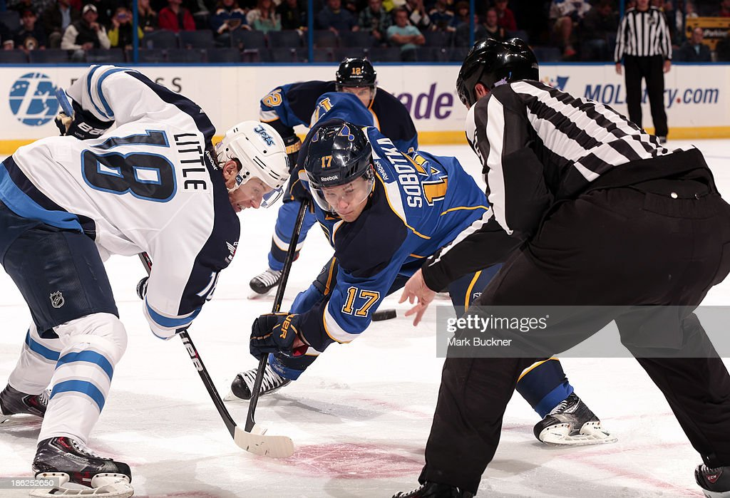 <a gi-track='captionPersonalityLinkClicked' href=/galleries/search?phrase=Vladimir+Sobotka&family=editorial&specificpeople=716736 ng-click='$event.stopPropagation()'>Vladimir Sobotka</a> #17 of the St. Louis Blues takes a face off against <a gi-track='captionPersonalityLinkClicked' href=/galleries/search?phrase=Bryan+Little&family=editorial&specificpeople=540533 ng-click='$event.stopPropagation()'>Bryan Little</a> #18 of the Winnipeg Jets on October 29, 2013 at Scottrade Center in St. Louis, Missouri.