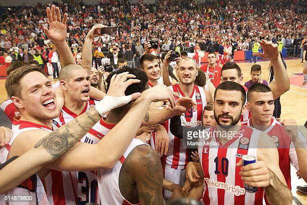 Vladimir Stimac #51 Maik Zirbes #33 Marko Simonovic #19 Branko Lazic #10 and Nikola Rebic #4 of Crvena Zvezda Telekom Belgrade celebrate during the...