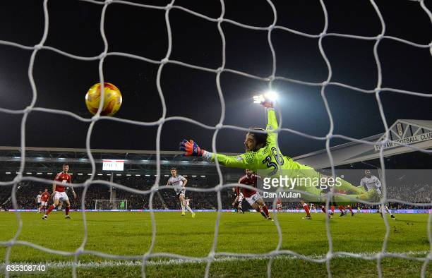 Vladimir Stojkovic of Nottingham Forest fails to stop a shot from Tom Cairney of Fulham for his side's second goal during the Sky Bet Championship...