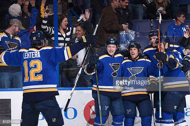 Vladimir Tarasenko Jaden Schwartz Colton Parayko and Carl Gunnarsson of the St Louis Blues celebrate Jaden Schwartz's goal against the Dallas Stars...