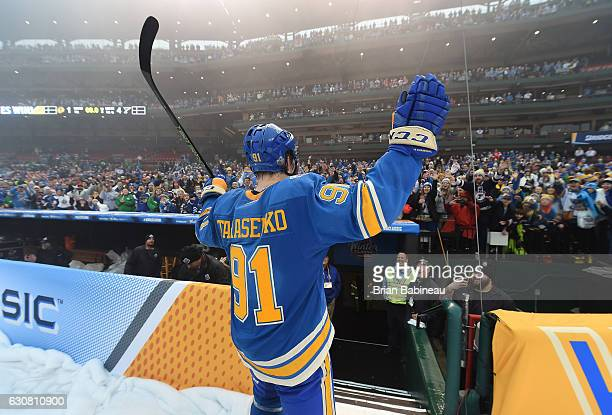 Vladimir Tarasenko of the St Louis Blues acknowledges the fans after the 2017 Bridgestone NHL Winter Classic at Busch Stadium on January 2 2017 in St...
