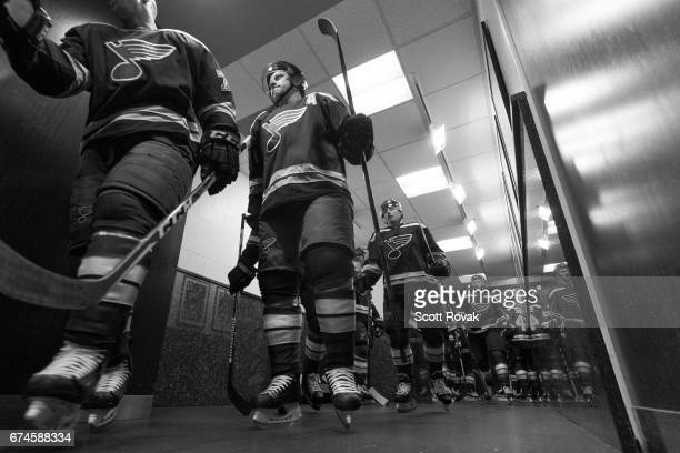 Vladimir Tarasenko of the St Louis Blues and Ivan Barbashev of the St Louis Blues head to the ice for warmups before Game Two of the Western...