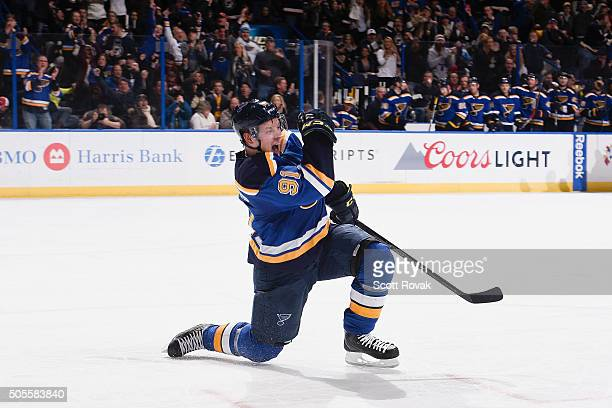 Vladimir Tarasenko of the St Louis Blues celebrates a goal against the Pittsburgh Penguins at the Scottrade Center on January 18 2016 in St Louis...
