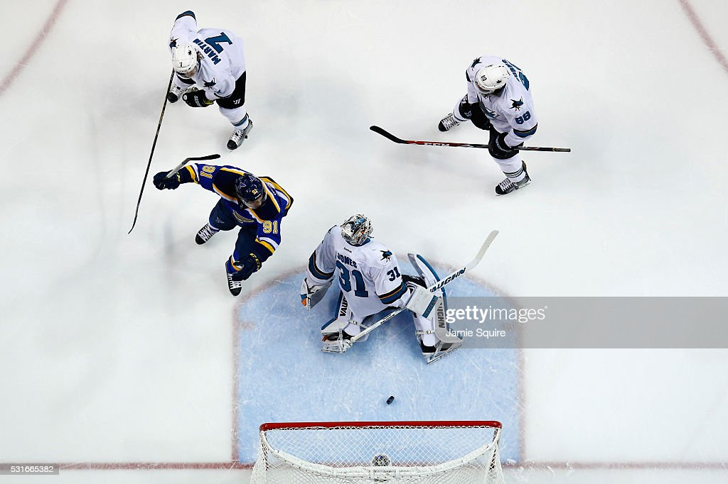 Vladimir Tarasenko #91 of the St. Louis Blues celebrates after Jori Lehtera #12 (not pictured) scored a goal against Martin Jones #31 of the San Jose Sharks during the second period in Game One of the Western Conference Final during the 2016 NHL Stanley Cup Playoffs at Scottrade Center on May 15, 2016 in St Louis, Missouri.
