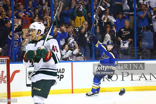 Vladimir Tarasenko of the St Louis Blues celebrates after scoring an emptynet goal for a hat trick against the Minnesota Wild during Game Two of the...
