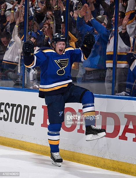Vladimir Tarasenko of the St Louis Blues celebrates after scoring against the Minnesota Wild in Game Two of the Western Conference Quarterfinals...