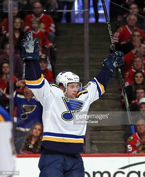 Vladimir Tarasenko of the St Louis Blues celebrates his first period goal against the Chicago Blackhawks in Game Six of the Western Conference First...