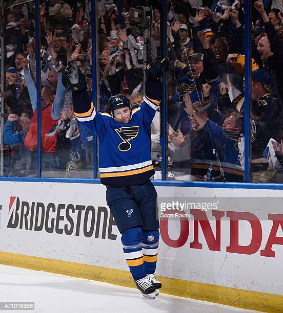 Vladimir Tarasenko of the St Louis Blues celebrates his goal against the Minnesota Wild in Game Five of the Western Conference Quarterfinals during...
