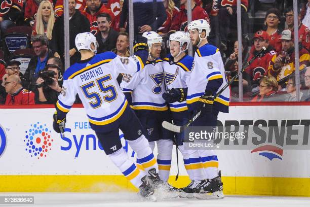 Vladimir Tarasenko of the St Louis Blues celebrates with his teammates after scoring against the Calgary Flames during an NHL game at Scotiabank...