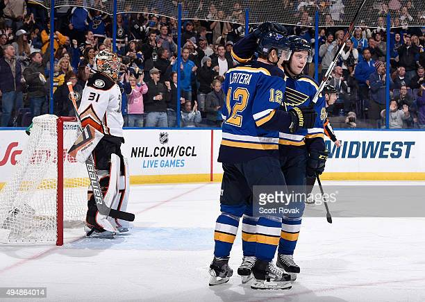 Vladimir Tarasenko of the St Louis Blues celebrates with Jori Lehtera after scoring a goal off of Frederik Andersen of the Anaheim Ducks on October...
