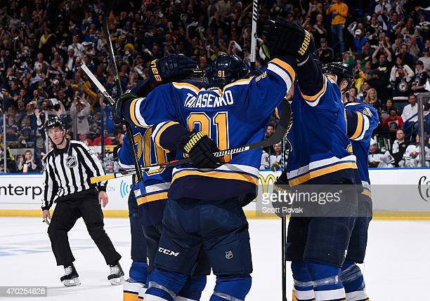 Vladimir Tarasenko of the St Louis Blues celebrates with teammates after scoring a goal against the Minnesota Wild in Game Two of the Western...