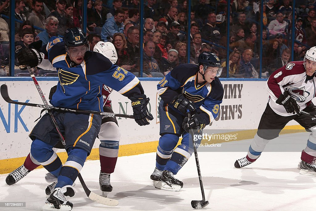 <a gi-track='captionPersonalityLinkClicked' href=/galleries/search?phrase=Vladimir+Tarasenko&family=editorial&specificpeople=6142635 ng-click='$event.stopPropagation()'>Vladimir Tarasenko</a> #91 of the St. Louis Blues controls the puck as teammate <a gi-track='captionPersonalityLinkClicked' href=/galleries/search?phrase=David+Perron&family=editorial&specificpeople=4282591 ng-click='$event.stopPropagation()'>David Perron</a> #57 battles with <a gi-track='captionPersonalityLinkClicked' href=/galleries/search?phrase=Shane+O%27Brien&family=editorial&specificpeople=2190942 ng-click='$event.stopPropagation()'>Shane O'Brien</a> #5 of the Colorado Avalanche in an NHL game on April 23, 2013 at Scottrade Center in St. Louis, Missouri.
