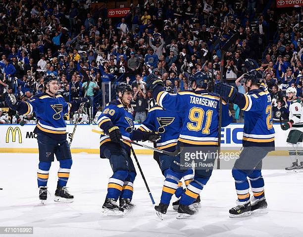 Vladimir Tarasenko of the St Louis Blues is congratulated after scoring a goal against the Minnesota Wild in Game Five of the Western Conference...