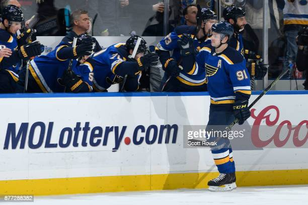Vladimir Tarasenko of the St Louis Blues is congratulated after scoring a goal against the Edmonton Oilers at Scottrade Center on November 21 2017 in...