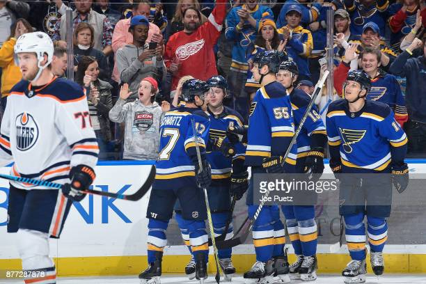 Vladimir Tarasenko of the St Louis Blues is congratulated by teammates after scoring a goal agains the Edmonton Oilers at Scottrade Center on...