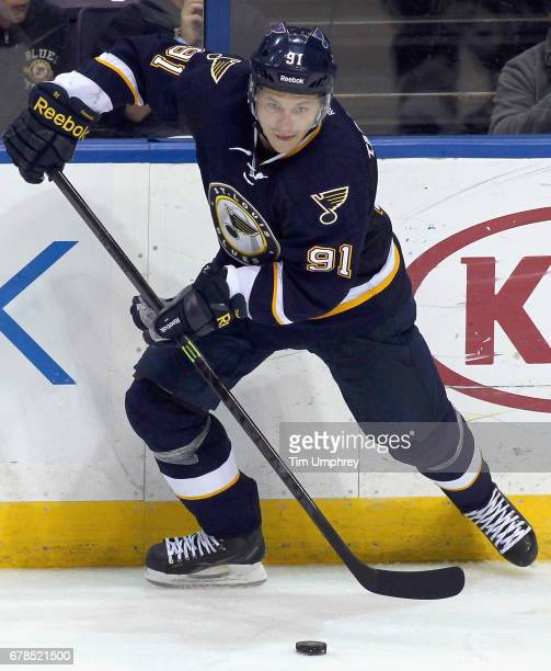 Vladimir Tarasenko of the St Louis Blues plays in the game against the Buffalo Sabres at the Scottrade Center on November 11 2014 in St Louis Missouri