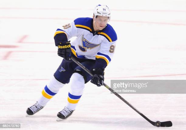 Vladimir Tarasenko of the St Louis Blues plays in the game against the Boston Bruins at TD Garden on November 18 2014 in Boston Massachusetts
