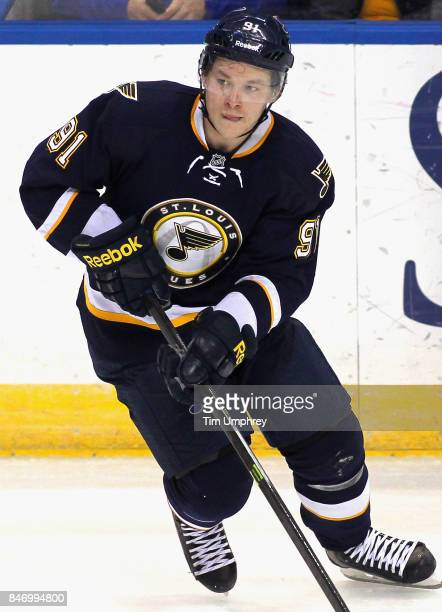 Vladimir Tarasenko of the St Louis Blues plays in the game against the Vancouver Canucks at the Scottrade Center on March 30 2015 in St Louis Missouri
