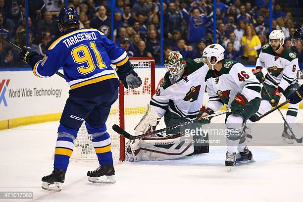 Vladimir Tarasenko of the St Louis Blues scores a goal against Devan Dubnyk of the Minnesota Wild in Game Five of the Western Conference...