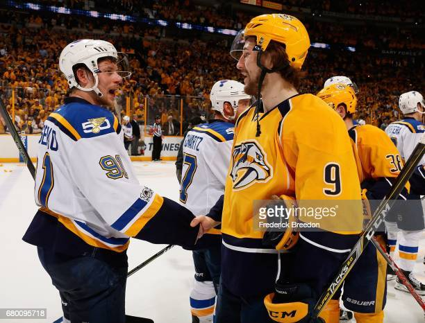 Vladimir Tarasenko of the St Louis Blues shakes hands with Filip Forsberg of the Nashville Predators after a 31 Predator victory over the Blues in...