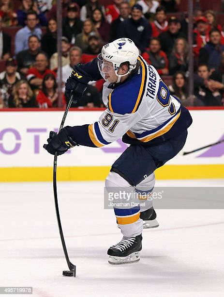 Vladimir Tarasenko of the St Louis Blues shoots the gamewinning goal against the Chicago Blackhawks at the United Center on November 4 2015 in...