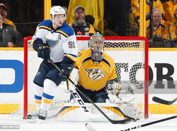 Vladimir Tarasenko of the St Louis Blues skates against Pekka Rinne of the Nashville Predators in Game Four of the Western Conference Second Round...