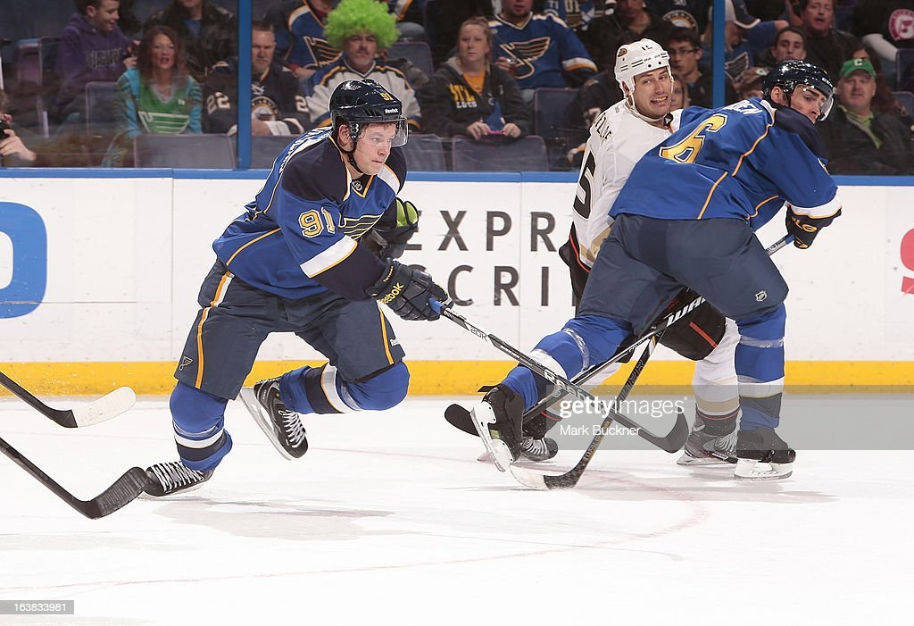 <a gi-track='captionPersonalityLinkClicked' href=/galleries/search?phrase=Vladimir+Tarasenko&family=editorial&specificpeople=6142635 ng-click='$event.stopPropagation()'>Vladimir Tarasenko</a> #91 of the St. Louis Blues skates against the Anaheim Ducks in an NHL game on March 16, 2013 at Scottrade Center in St. Louis, Missouri.