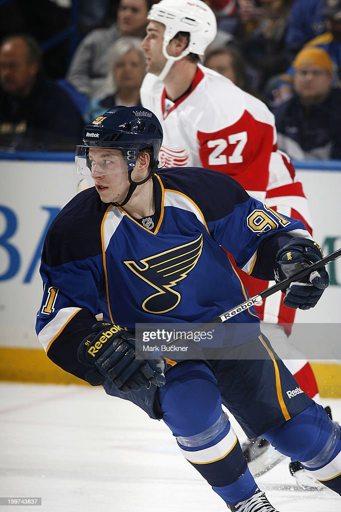 <a gi-track='captionPersonalityLinkClicked' href=/galleries/search?phrase=Vladimir+Tarasenko&family=editorial&specificpeople=6142635 ng-click='$event.stopPropagation()'>Vladimir Tarasenko</a> #91 of the St. Louis Blues skates against the Detroit Red Wings in an NHL game on January 19, 2013 at Scottrade Center in St. Louis, Missouri.