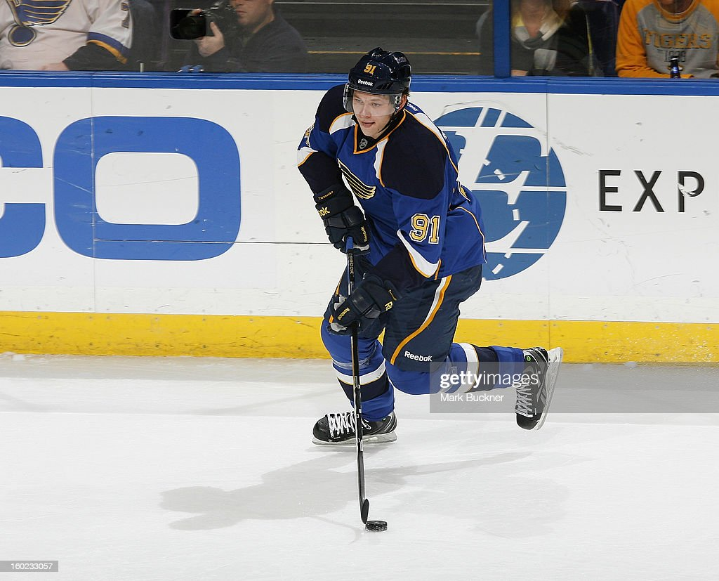Vladimir Tarasenko #91 of the St. Louis Blues skates against the Minnesota Wild in an NHL game on January 27, 2013 at Scottrade Center in St. Louis, Missouri.