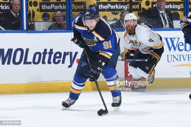 Vladimir Tarasenko of the St Louis Blues skates against the Nashville Predators in Game Five of the Western Conference Second Round during the 2017...